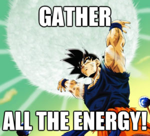 goku showing high energy levels