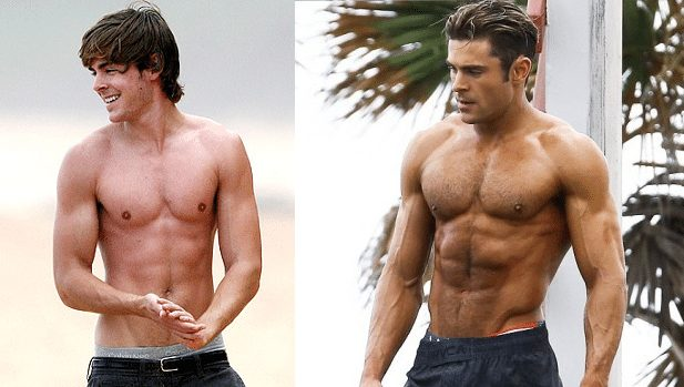 zac efron steroids before after