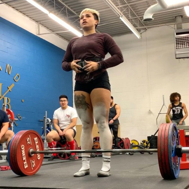 Christine Castro deadlifts